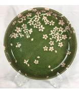 Japanese Pink Cherry Blossom Posies Garden Green Glazed Stoneware Dish B... - $26.63