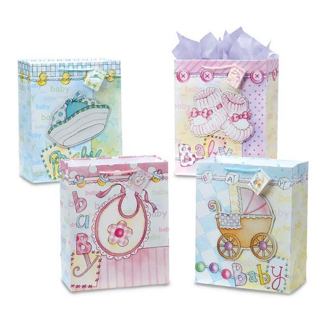10 1/2W x 13H x 5 1/2G Large Baby Style On Matte, 4 Designs, Case of 120