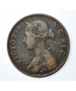 1872 H Canada Newfoundland Large One Cent KM# 1 Copper Coin  - $17.81