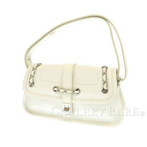 CHANEL Shoulder Bag 2.55 Leather White Semi Shoulder Length Italy Authentic