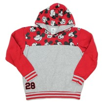 Disney Store Mickey Mouse Gray Red Hoodie Sweatshirt Youth Size 9/10 - $12.22