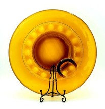 VTG Indiana Glass Amber Kings Crown Thumbprint Pattern Snack Plate - $5.45