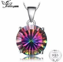 925 Sterling Silver Mystic Raiinbow Topaz Pendant Necklace [PEN-77] - $18.81