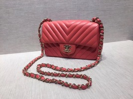 AUTH NEW Chanel RARE PINK CHEVRON Quilted LAMBSKIN Large Mini 20CM Flap Bag SHW image 6