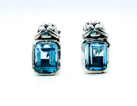 Vintage Sterling Silver Elegant Neoclassical Blue Topaz Post Earrings - $125.99