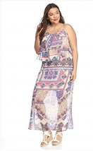 New Directions 2X Printed Popover Polyester Chiffon Fabric Maxi Dress  m... - $21.49