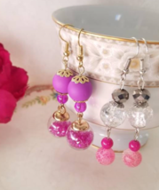 Purple Earrings, Glass Vial Earrings, Gold Dangle Earrings, White Glass Earrings - $18.00