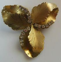 Vintage Gold-tone Prong-set Rhinestone Floral Leaf  Brooch - $18.32