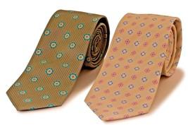 Men's Tie Solid Brown Micro Silk   2 psc 2 Tone Geometric Necktie - $21.69
