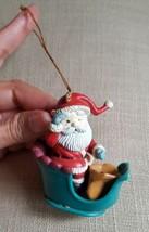 Christmas Lustre Fame Ornament Santa in Sleigh  Spy Glass Matrix 1993 w defects - $12.10