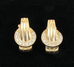 Vintage Trifari Signed Gold Toned Clip On Earrings With Clear Rhinestones -C1 - $11.99
