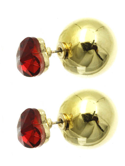 Heart Solitaire Double Sided Ball Stud Earrings Red Heart Goldtone Ball