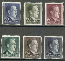 1942 Adolf Hitler Set of 6 Poland Postage Stamps Catalog Number N91-96 MNH