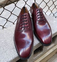 Handmade Men Burgundy Heart Medallion Dress/Formal Lace Up Oxford Leather Shoes image 3
