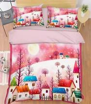 3D Cartoon Town Bed Pillowcases Quilt Duvet Cover Set Single Queen King Size AU - $64.32+
