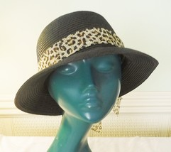 COOL TOUCH & GO SOFT STRUCTURE STRAW HAT CLASSICAL BLACK ANIMAL PRINT BA... - $11.86