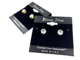 Bianca Stone April Birthstone Stud Earrings With Crystals Made By Swarovski - $9.99