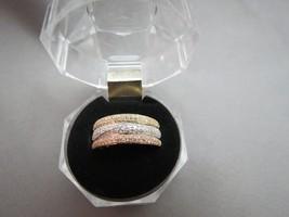 EFFY 14k Diamond Ring 5/8 CTW Three-Row Tri-Color Yellow Gold Rose Stack... - $1,187.99