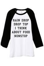 Thread Tank Rain Drop Drop Top I Think About Food Nonstop Unisex 3/4 Sleeves Bas - $24.99+