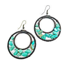 Green Hook Dangle Earrings Stone& Beads& Rope& Brass - $5.94