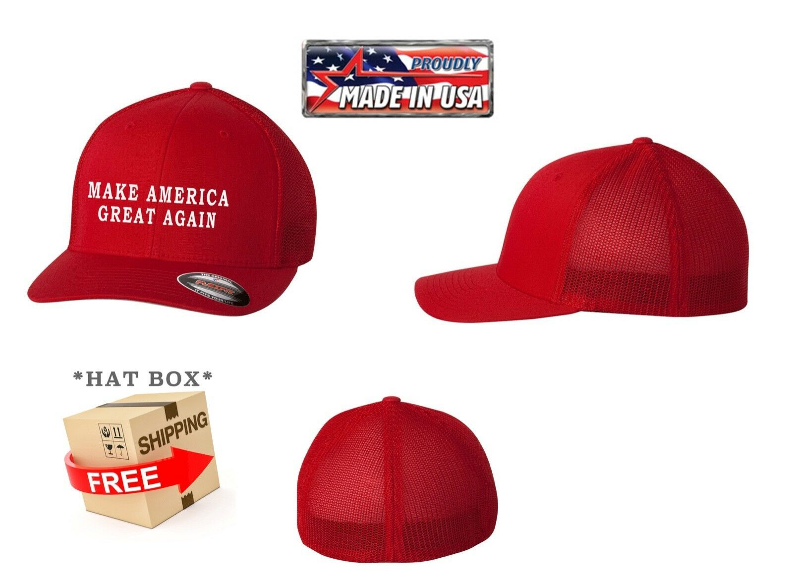 Primary image for MAKE AMERICA GREAT AGAIN TRUMP Trucker Cap FLEXFIT HAT  *FREE SHIPPING in BOX*