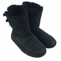 UGG Customizable Bailey Bow Black Suede Back Tie Fur Lined Boots Women's Size 4 - $37.04
