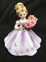 Josef girl figurine light purple dress pink flowers July small repair as is - $4.95
