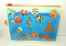 Melissa & Doug Magnetic Wooden Fishing Game 10 Wooden Ocean Animal Magnets  - $14.95