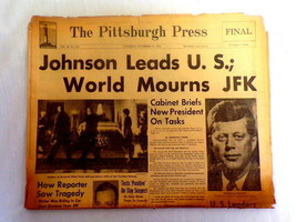 ORIGINAL November 23 1963 Pittsburgh Press JFK Assassination / LBJ Newsp... - $59.39