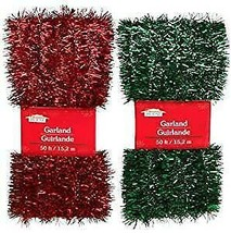 Christmas House Decor - Red & Green Tinsel Garlands, 50 ft. (Set of 2)  - $3.00