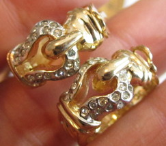 Beautiful Buckle Style Hoops Vintage Rhinestone Gold Plated Clip-On Earr... - $13.85