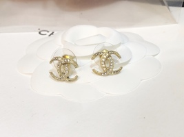 SALE!!! Authentic CHANEL CRESCENT MOON CRYSTAL CC Logo Stud Earrings Gold  image 6