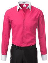 Berlioni Italy Men's Premium Classic White Collar & Cuffs Two Tone Dress Shirt image 13