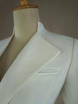 Women's White Suit Jacket White Asymmetrical Collar Boho Wedding Bridal Outfits image 7