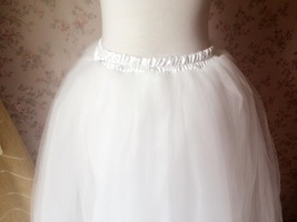 4-Layered White Tulle Skirt White Maxi Tulle Skirt Petticoat White Bridal Tutu  image 6