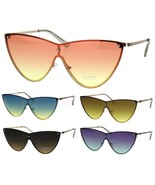 SA106 Womens Shield Exposed Edge Chic Large Cateye Sunglasses - $12.95