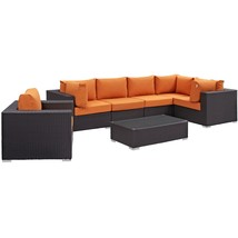 Convene 7 Piece Outdoor Patio Sectional Set Espresso Orange EEI-2157-EXP... - $2,343.00