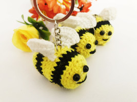 Handmade Crochet Mini Bee Keychain Cute Bumblebee Amigurumi Plush Key Ri... - $14.99