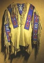 Men Native American Buckskin Tan Buffalo Leather Beaded Powwow War Shirt NA305 - $299.00