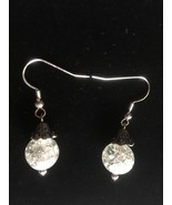 New Clear Crackle Glass Dangle Earrings, Fish Hooks, Handmade, Gift Idea... - $10.00