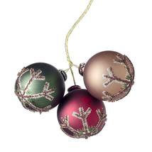 Christmas Pick Ornaments X3 Wdlnd Snow 40Mm - $15.00