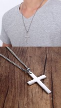 Men's Stainless Steel Simple Cross Cuban Chain Necklace Silver-Finish - $14.84