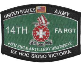ARMY 14TH FIELD ARTILLERY EX HOC SIGNO VICTORIA EMBROIDERED PATCH - $17.09