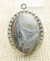 Gray Purple White Agate Stone Silver Tone Oval Necklace Pendant Vintage - $24.74