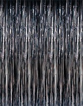 3ft x 8ft Black Metallic Fringe Tinsel Foil Pho... - $4.99 - $26.99