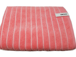 DKNY Striped Large Bath Towel 1pc, Color Coral/White - $23.99