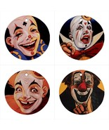 Circus Clowns Ceramic Christmas Decorative Ornaments Set of 4 - $44.99