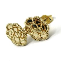 18K YELLOW GOLD BOTTON FLOWER DAISY EARRINGS 14 MM, DOUBLE LAYER WORKED MIRROR image 5