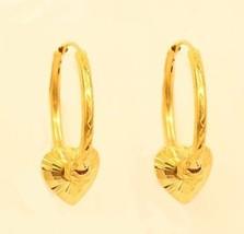 18k gold  hoop heart earring from Thailand #31 - $197.01