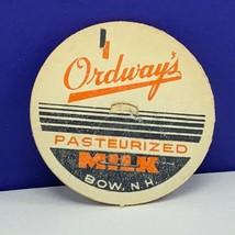 Milk Bottle cap dairy farm advertising label vtg Ordways Bow New Hampshi... - $12.55